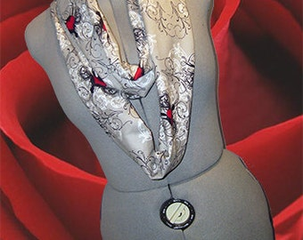 Flannel Neck Warmer, Infinity Scarflette, Circle Scarf, Tattoo Hearts