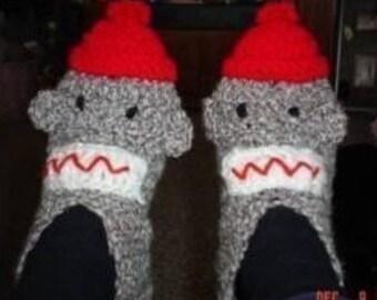 PDF Sock Monkey Slippers Crochet PATTERN Teen/Adult Immediate Download