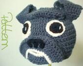 Crochet Hat Pattern - Crochet Bulldog Animal Beanie with Floppy Ears, Wrinkly Snout - Crochet Beanie Pattern