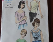 Vintage 60s Vogue 5542 Easy to Make Misses Blouse Top Pattern size 12 B32 Uncut
