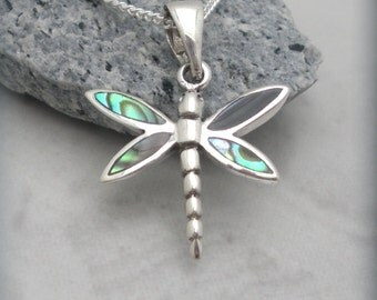 Dragonfly Necklace Abalone Shell Pendant Sterling Silver Nature Jewelry (SN630)