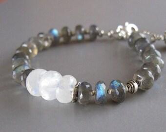 Labradorite Rainbow Moonstone Bracelet Sterling Fine Silver Spectrolite Bead DJStrang Boho Cottage Chic Color Flashing Stone