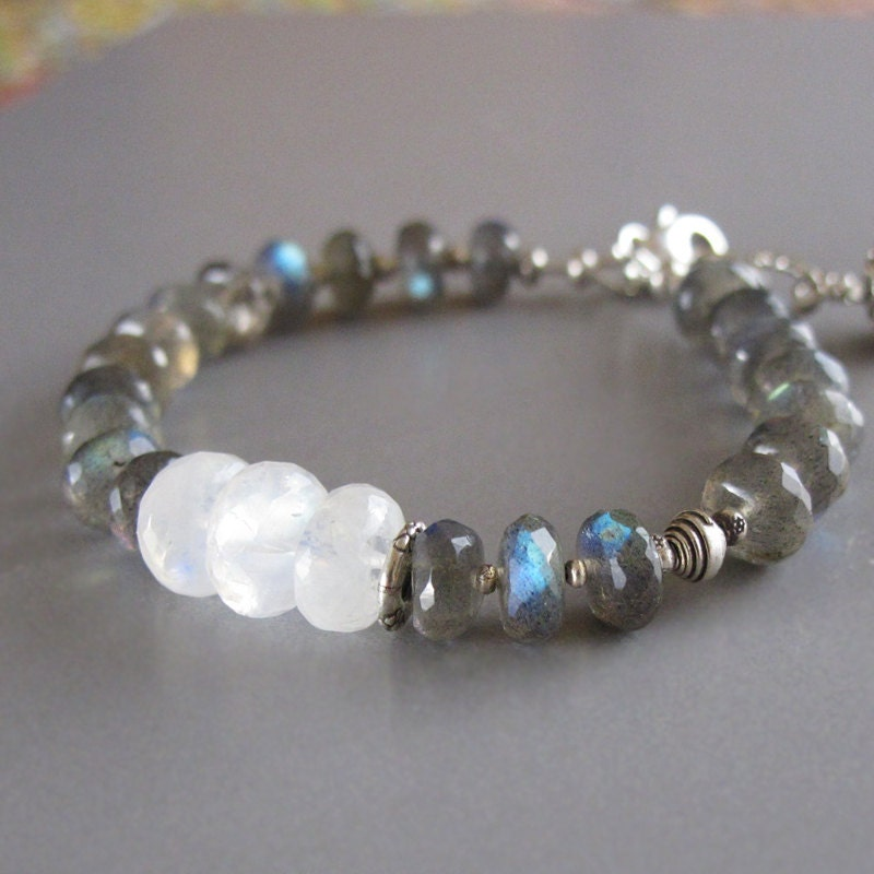 labradorite rainbow moonstone bracelet sterling silver