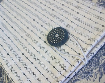 Tablet Reader Sleeve Case, Kindle Kobo, Off White, Navy, blue, Shirtings fabric, small print, vintage button, ready-to-ship