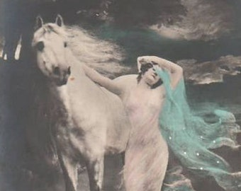 Digital download instant.Wild white horse and woman. Make tags, sachets, pillows,note cards,altered art,decoupage