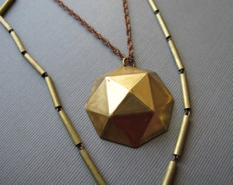 Layered Geometric Chain Necklace with Brass Charm and 1970s Brass Tube Chain Geometric Necklace by Glamourpuss Creations on Etsy