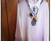 Vintage silk screen print necklace blouse 38
