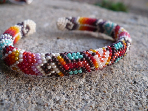 Peyote Stitch Beaded Bracelet Native American Beadwork