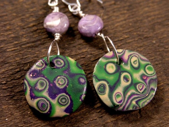 genuine rare charoite stone, purple and green handmade polymer clay beads and silver earrings