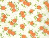 SALE - Happy Go Lucky - Mum in White and Orange: sku 55063-19 cotton quilting fabric by Bonnie and Camille for Moda Fabrics - 1 yard
