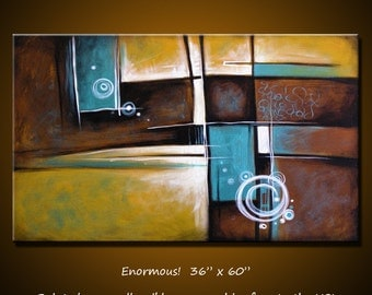 """Large Huge Art Abstract Painting Original Wall Decor Contemporary Upscale Art ... 36"""" x 60"""" ... Instinctual, Free US shipping"""