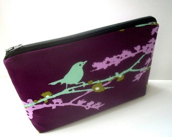 Large Cosmetic Bag Flat bottom Zipper Pouch Padded ECO Friendly Sparrows on Plum