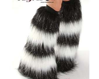 Sparkle DanceWear Fluffies Rave Wear Black / White Furry Boot Covers