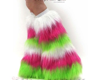 Fluffies - Sparkle White-Hot Pink-Lime Green Rave Wear Furry Leg Warmers