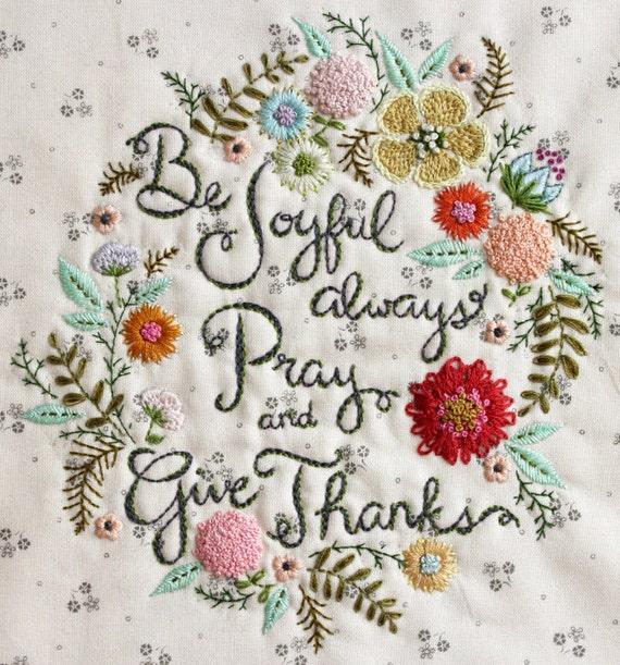Be Joyful Embroidery Pattern PDF