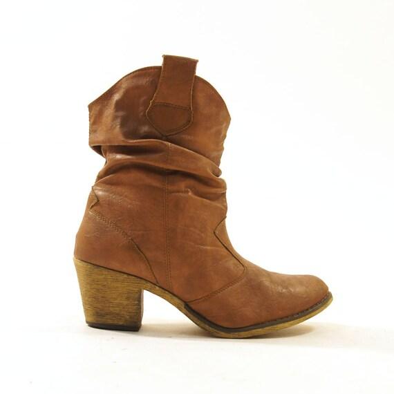 80s slouchy vegan shortie cowboy boots brown s