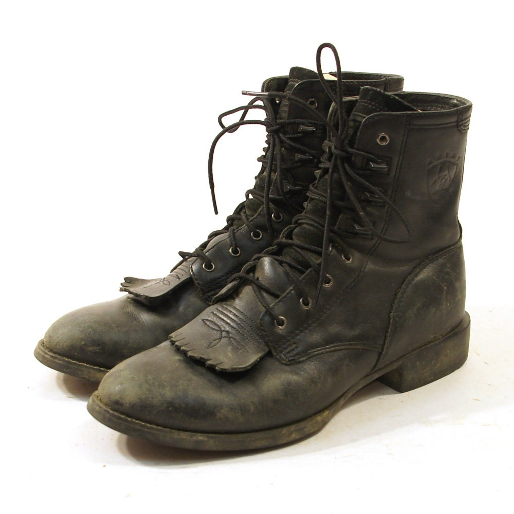Ariat Lace Up Ankle Roper Packer Boots In Black Leather