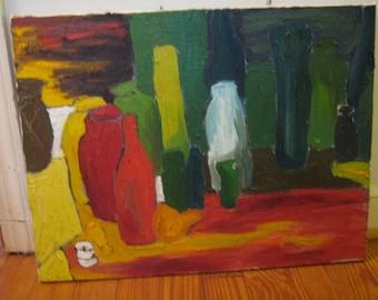 Bottle Still Life original oil painting 20 in X 26 in