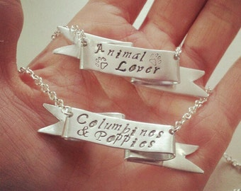 Sterling Silver Personalized Quote Necklace // Ribbon Banner Necklace // Unique Gift for HER under 100 // Rockabilly // Edgy // Modern