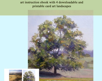 pdf FORMAT ebooklet Art Lesson with FREE printable art for notecards - Paint a Tree in Oils