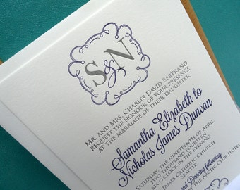 Monogram Frame letterpress wedding invitation - deep violet and slate - SAMPLE