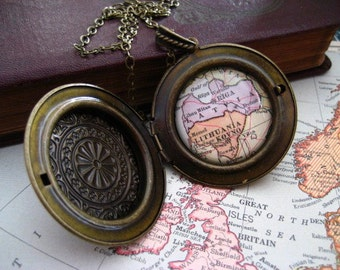 Map Locket  Necklace Lithuania and Latvia
