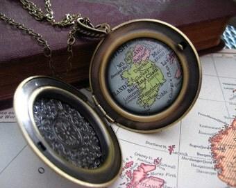 Map Locket  Necklace Ireland