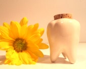 Handmade Ceramic Tooth Keepsake Jar. Keep your child's or pet's tooth for memento. Perfect for toothpicks in the kitchen.