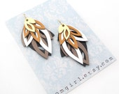 Leather Layered Metallic and Neutral Tone Earrings