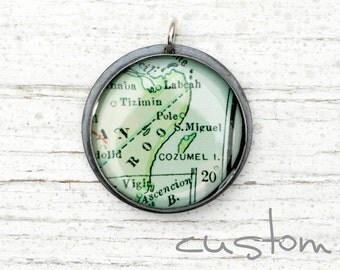 CUSTOM Antique Map Pendant Recycled Sterling Silver - No Chain