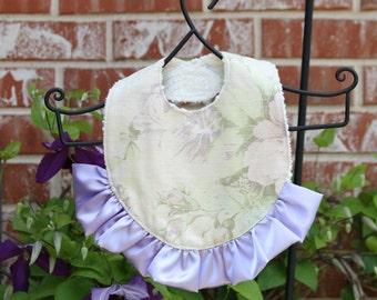 Purple Baby Bib - Ruffled Baby Bib - Purple Floral Bib - Baby Girl Bib - Girl Baby Gift