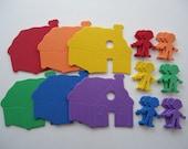 Rainbow foam color matching houses and people, foam sorting game, water play table foam shapes, sensory bin foam houses, rainbow foam men
