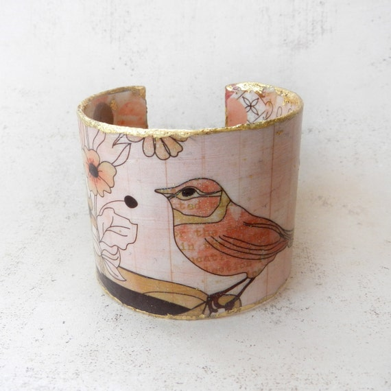 Bracelet Cuff, Metal Bracelet, Bird Cuff, Pink Bird Jewelry, Metal Cuff, Altered Art, Blush Peach