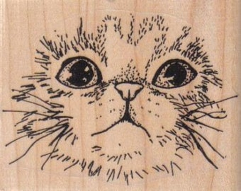Rubber stamp   Cat face large wood  Mounted  scrapbooking supplies number 3300