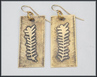 ETCHED FERN LEAF - Handforged Etched Abstract Fern Leaf Bronze & 14kt Goldfill Earrings