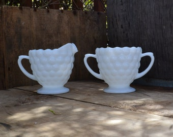 Sweet Creamer and Sugar Bowl Milk Glass Bubble Pattern - Royal Hill Vintage