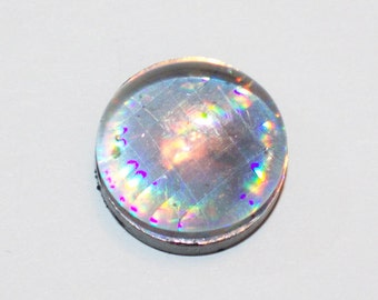 silver holographic magnet w/ glass bead top - LIMITED QUANTITIES
