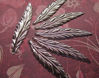 Feather Leaf Charms, Long Narrow FLAT, Silver Tone Charms Jewelry Supplies x 6