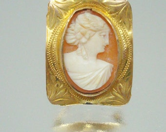 Antique 10k Gold Cameo Victorian Edwardian Vintage Jewelry