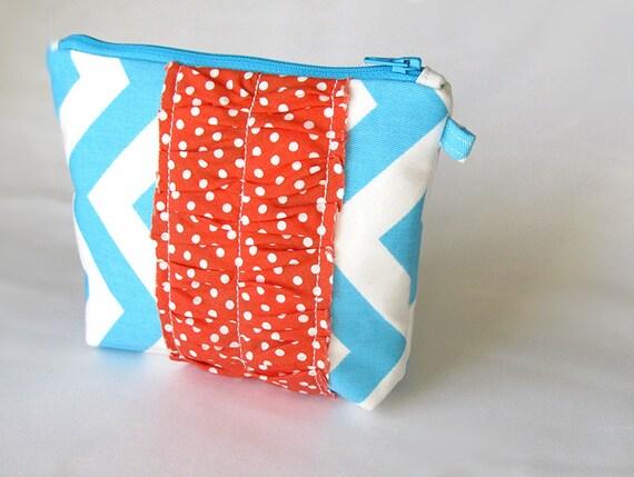 MEDIUM zipper pouch. Aqua Chevron with Coral Dots flat ruffle wristlet.   -Ready To Ship