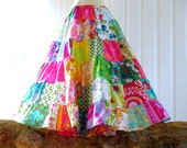 Custom made girls Soul Vibration patchwork skirt with upcycled, vintage and designer floral fabrics - any size