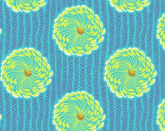 Amy Butler Soul Blossom Lime Green and Blue Floral cotton Fabric by the yard