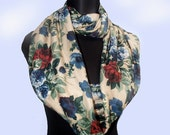 Open Red Roses Long Floral Jersey Infinity Scarf