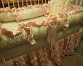 Gold and Pink with Ivories Luxury Crib  Bedding Ask about Colors for a Boy