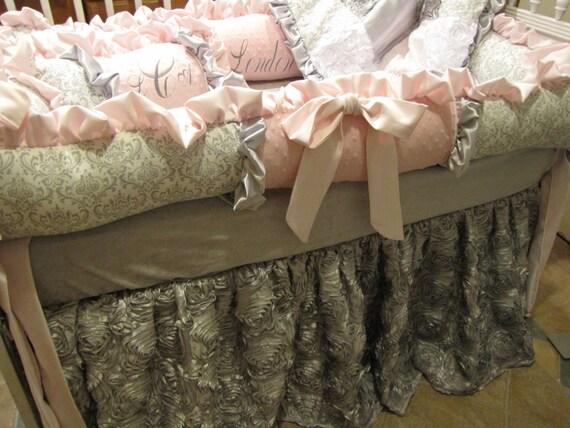 Girls Luxury Bedding: Girls Custom Crib Luxury Pink And Grey Bedding By Eileenskids