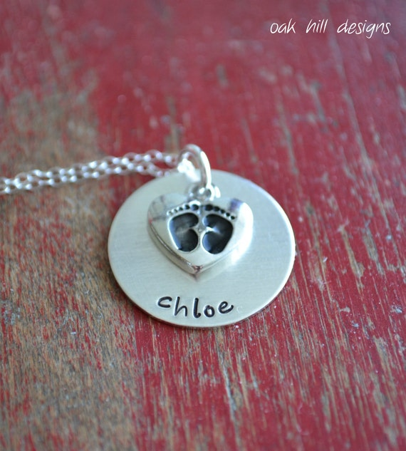 hand stamped necklace-sterling silver personalized jewelry-baby love