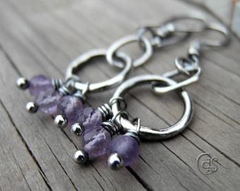 Amethyst Earrings Gemstone Hoops Lavender Jewelry
