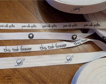 White or Natural COTTON Printed Tape/Ribbon by the yard - One or Two color imprint - 30 or 50 yards