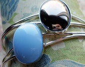 Pick Your Poison: silver adjustable cuff bracelet with vintage glass cabochon - you pick