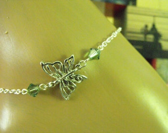 Silver filigree butterfly with green Swarovski crystals, ankle bracelet, anklet, custom sized, chain, summer accessory